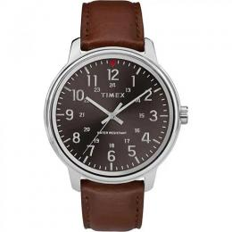 TIMEX T2R857 MEN'S CLASSIC BLACK DIAL TAN LEATHER WATCH