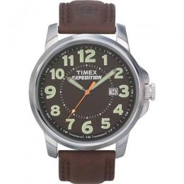 TIMEX T44921 MEN'S EXPEDITION METAL FIELD BROWN LEATHER STRAP WATCH