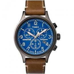 TIMEX T4B090 MEN'S EXPEDITION CHRONOGRAPH BLUE DIAL LEATHER WATCH