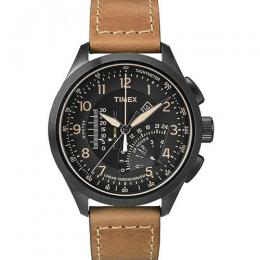 Timex T2P277 Mens Intelligent Quartz Black Tan Linear Chronograph Watch