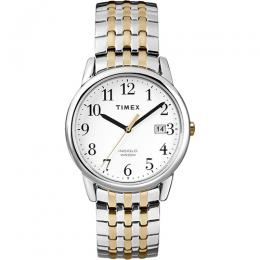 Timex T2P295 Men's Easy to Read White Dial Two Tone Stainless Steel Expansion Band wih a Date Wind