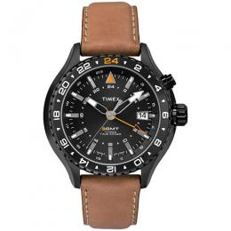 Timex T2P427 Men's Quartz with Black Dial Analogue Display Quartz Leather Large Size Watch