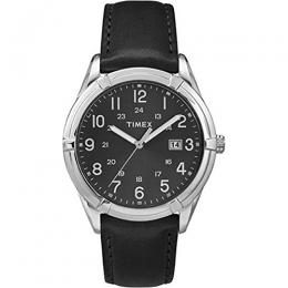 Timex T2P767 Men's Main Street Analog Black Leather Medium Size Watch