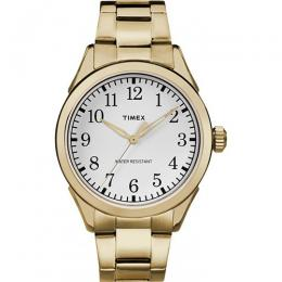 Timex T2R100 Unisex Briarwood Terrace White Dial Gold Band Medium Size Watch