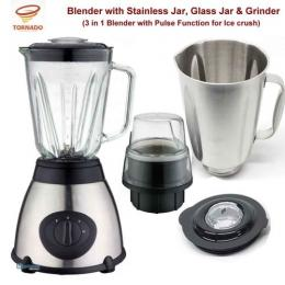 Tornado 3 In 1 Blender With Stainless Cup And Grinder