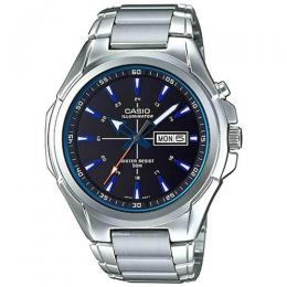 CASIO MTP-E200D-1A2V MEN'S ENTICER ANALOG STAINLESS STEEL BLUE ACCENT ILLUMINATOR WATCH
