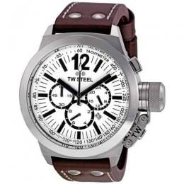 TW STEEL CE1007 MEN'S CANTEEN CHRONOGRAPH WHITE DIAL LEATHER WATCH