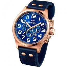 TW STEEL TW406 MEN'S PILOT CHRONOGRAPH ROSE GOLD BLUE DIAL WATCH