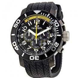 TW STEEL TW74 MEN'S GRANDEUR DIVER CHRONOGRAPH ALL BLACK PVD RUBBER WATCH