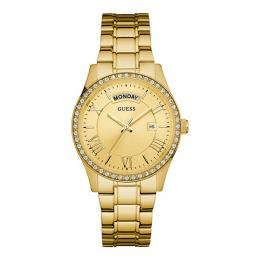 GUESS U0764L2 Women's Dressy Gold-Tone Stainless Steel Multi-Function Watch with Day & Date