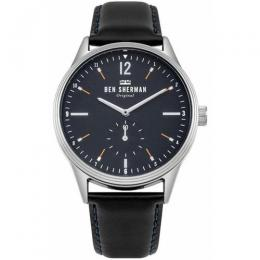 BEN SHERMAN WB015UB MEN'S SPITALFIELDS VINYL GEO BLACK LEATHER WATCH