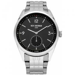 BEN SHERMAN WB052BSM MEN'S CARNABY DRIVER SILVER STAINLESS STEEL BRACELET WATCH
