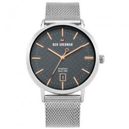 BEN SHERMAN WBS103ESM MEN'S THE DYLAN HERITAGE CHARCOAL DIAL MESH WATCH