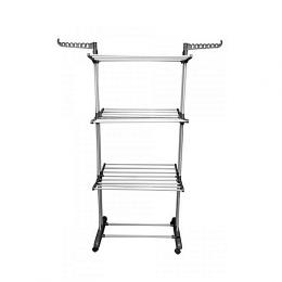 Le Decor Foldable 3 Tier Cloth Rack With Wheels - Silver